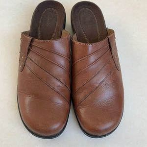 Clark's brown leather mules
